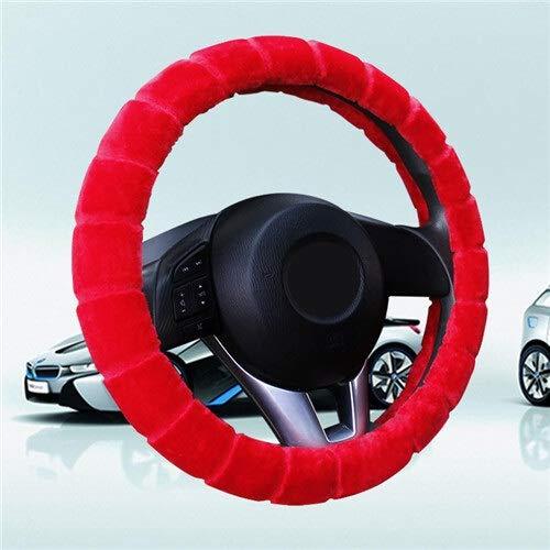 Auto Steering Wheel Cover Winter Warm Pluche Universal Braid op het stuur van de auto 38cm Wheel Protector (Color : Red, Size : Free)