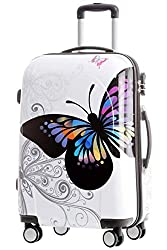 BEIBYE Travel Case Hard Shell Trolley Combination Lock Polycarbonate Set XL LM Beutycase (Butterfly, M (hand luggage))