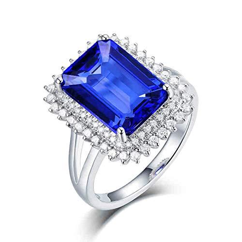 Daesar Anillo de Boda Oro Blanco 18 Kilates Mujer,Rectángulo Tanzanita Azul 4ct Diamante 0.63ct,Plata Azul Talla 17