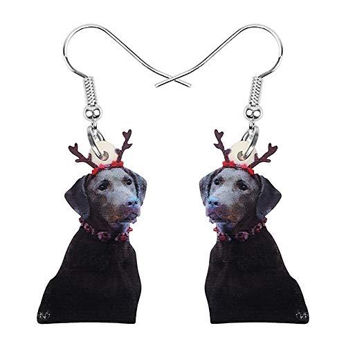 N\A Pendientes acrílicos de Navidad con Cuernos de Perro, Colgante de joyería de Animales, Decoraciones navideñas para Mujeres, niñas, Fiestas, Multicolor