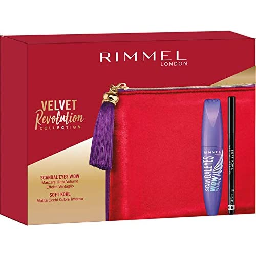 Rimmel London Confezione Regalo Velvet Revolution Collection, Pochette con Mascara Ultra Volume Scandal'Eyes Wow Wings e Matita Occhi Soft Kohl