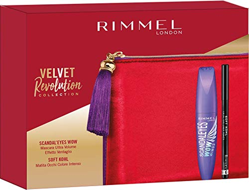 Rimmel London Confezione Regalo Velvet Revolution Collection, Pochette con Mascara Ultra Volume Scandal'Eyes Wow Wings e Matita Occhi Soft Kohl