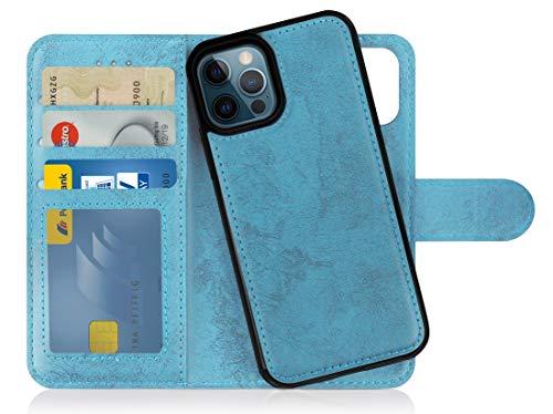 MyGadget Custodia Flip Cover 2in1 Magnetica per Apple iPhone 12/12 PRO - Portafoglio Funzione Stand Porta Carte - Case Similpelle PU Removibile - Blu Chiaro