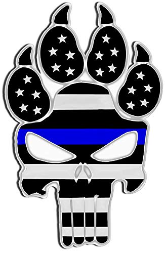 Garage Art Signs Thin Blue Line Police Dog K9 Unit Skull Laser Cutout Metal Sign 17Hx11W.