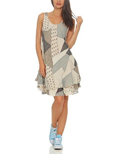 ZARMEXX Damen Sommerkleid Strand Kleid Patchwork-Print Ärmellos doppellagig A-Linie beige One Size (36-40)