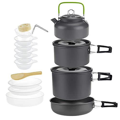 Conjunto de utensilios de cocina de camping de aluminio con hervidor, ollas de camping plegables y sartenes establecidos para 4-5 personas para mochileros para senderismo Pesca de picnic,Negro,15 pcs