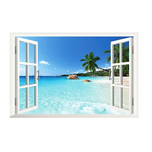 trifycore Wall Stickers Removable 3d Sea View Landscape Vinyl Programme of Wallpaper 3d Stickers for Window Poster Wall Decoration Art Mural Wall Sticker Wall 60 cm x 90 cm x 1