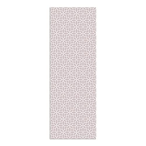 Alfombra Vinílica Cocina Flores, Color Rosa, 200 x 70 x 0.22 cm, Alfombra de Vinilo de Varios Tamaños con Base Antideslizante, Material Lavable y Recortable, ALV-100