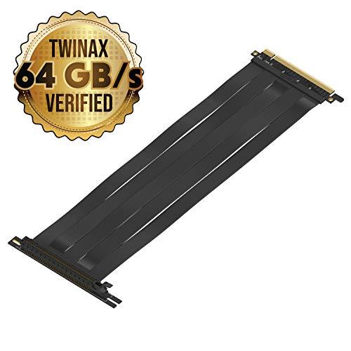 LINKUP {30 cm} PCIE 3.0 16x Riser Cable Super Abgeschirmt Twinaxial PCI Express Steigleitung Kabel Portverlängerungs-Platte 2020 Rev | 90 Grad Buchse