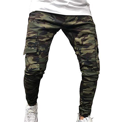 Huateng Pantalones Cargo de Camuflaje para Hombres Bolsillos múltiples Zipper Decoración Slim Jeans Estrechos pies