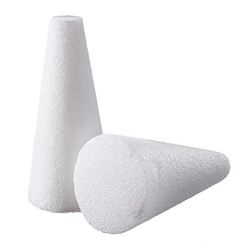 White Floral Decorative Foam Cones (2 Pack) (6 x 3 in.)