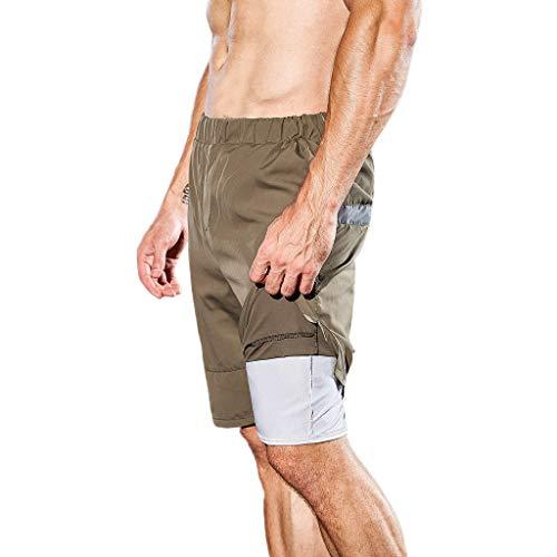 Zarupeng heren fitnessshorts met rugzak, dubbellaags, ademend, zweetabsorptie, sneldrogend, jogging training sports shorts
