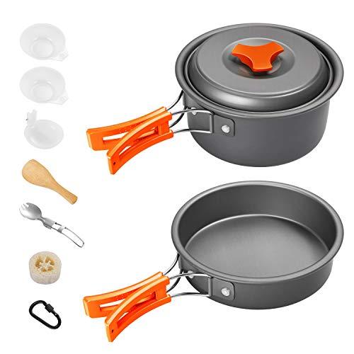 Gonex Set Pentole Padelle da Campeggio, Utensili da Cucina Portatile Antiaderente Cucchiaio Pieghevoli Gavetta da Picnic Camping Cookware Kit per Trekking Escursioni all'aperto