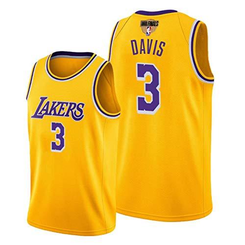 New Season Finals, James 23# Kuzma 0# Davis 3# Los Angeles Laker Basketball Jersey, mit Finale Logo Hot Pressing (Shorts/Vest) Fan Trainings Favoriten Yellow 3-S