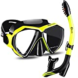 Dorlle Dry Snorkel Set Snorkel Mask, with Anti-Fog Diving Mask, Easy Breathing and Adjustable Professional Snorkeling Gear for Adults and Youth(Yellow/Black)