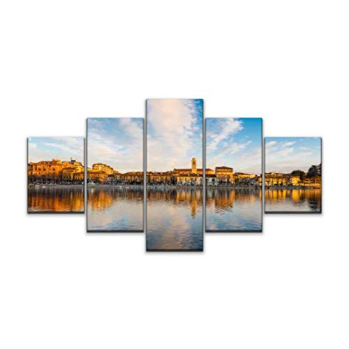 5 panels Wall Art Print On Canvas sesto calende lake maggiore ticino river northern italy beautiful Modern Abstract Picture Poster for Home Decor Stretched and Framed Ready to Hang (60''Wx32''H)
