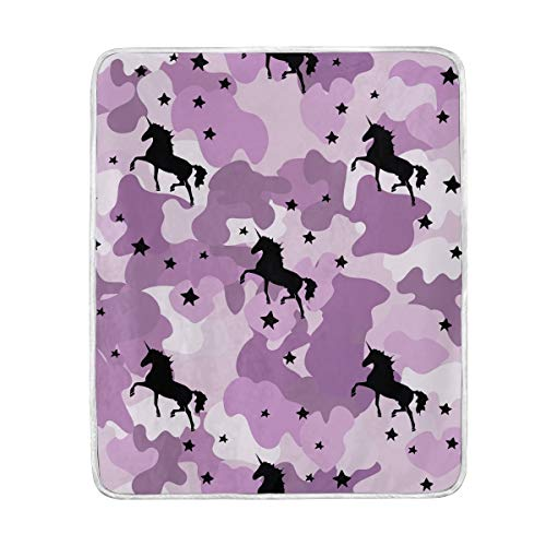 AGONA Colorful Camouflage Purple Unicorn Stars Blanket Throw Soft Cozy Warm Plush Fuzzy Blanket Lighweight Decorative Bed Throw Blanket for Couch Sofa Chair Travel Office 50x60 Inch