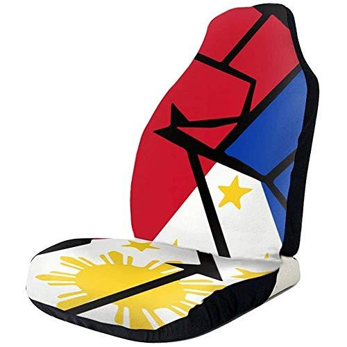 MaMartha Car Seat Cover Philippinen Flagge Faust-1 Friedenszeichen Autositzbezüge Auto Mattenbezüge Fahrzeugschutz Passend für die meisten Autos,2St