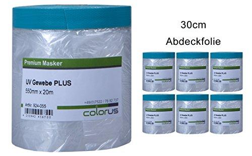 6 x Colorus Masker Tape PLUS UV Gewebe 30cm x 20m Abdeckfolie Abklebeband Maskenband für raue Untergründe