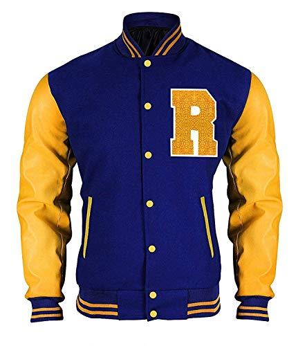 Fashion_First - Giacca bomber in pelle ecologica, ispirata al personaggio Archie Andrews interpretato da KJ Apa nella serie Riverdale, in stile università americana con la lettera R Multicolore S