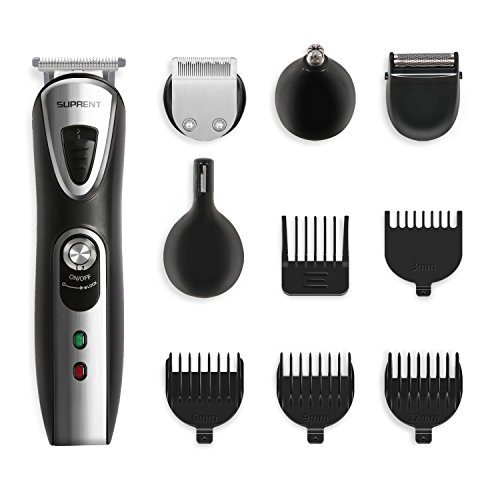 SUPRENT Multi-function Beard Trimmer, 5-in-1 Professional Mens Body Grooming Kit with Mustache Trimmer, Nose Hair Trimmer and 8 Sizes of Guide Combs, Rechargeable Cordless (Black)