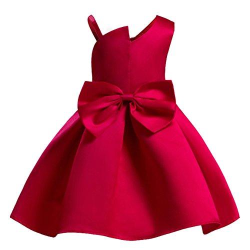 AnKoee Bambine Senza Maniche Principessa Abiti Eleganti Bambina Partito Compleanno Comunione Swing Vestiti da Cerimonia 3-10 Anni (Rosso, 130cm/ 6-7 Anni)