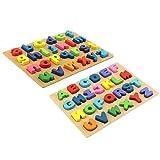 Baoblaze 2pcs Niños Pequeños Juguetes de Aprendizaje Temprano Rompecabezas de Madera Tableros de Letras del Alfabeto