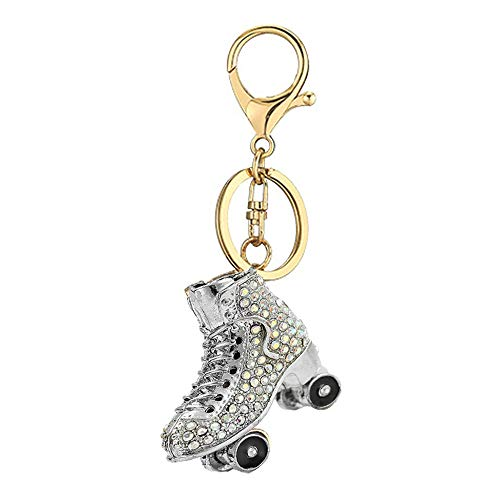 WANLIAN Llavero de diamantes de imitación de skate, zapatos colgante de llavero, colgante de aleación de cristal brillante (Plata)