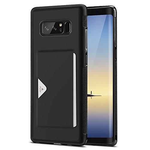 Samsung Galaxy Note 8 ケース 薄型 ICカード収納 TPU+レザー 耐衝撃 滑り防止 指紋防止 スマホケース 携帯カバー (Samsung Galaxy Note8, ブラック)