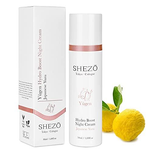 SHEZO Nachtcreme 50ml Hochdosiert Anti Aging Nachtpflege Japanische Superfrucht Yuzu - Vegane Gesichtscreme - Reichhaltige Feuchtigkeitscreme mit natürlichem Vitamin-C - Made in Germany