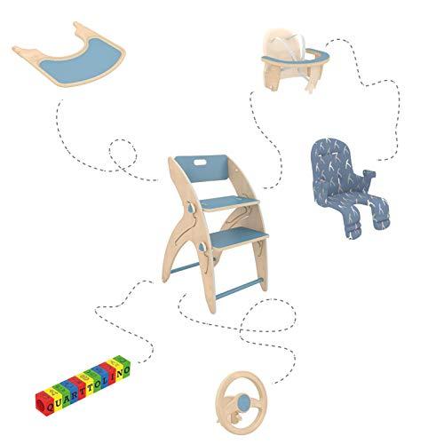 QuarttoLino 7 -in- 1 Baby - Hochstuhl aus Holz/Kinderhochstuhl ab 6 Monaten, mitwachsend, höhenverstellbar, bis 110 kg belastbarSet Mini (Blau)