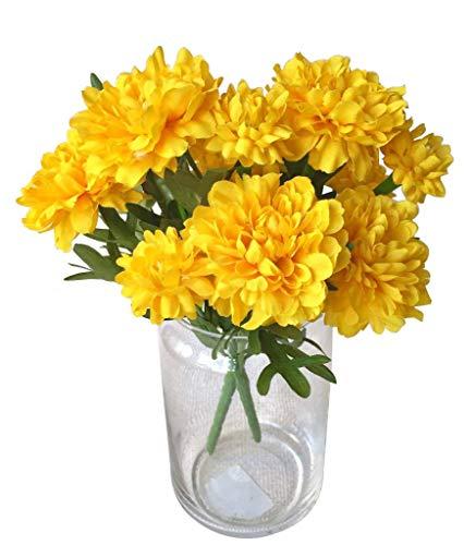 Thai Artificial Yellow Marigold Bunch, Artificial Flowers, Marigold Flowers, Yellow Flower, Marigold Yellow, Calendula officinalis 6 Head.