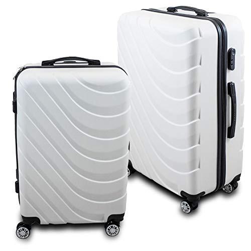 BERWIN® Kofferset L + XL 2-teilig Reisekoffer Trolley Hartschalenkoffer ABS Teleskopgriff Modell Wave 2018 (Weiß)