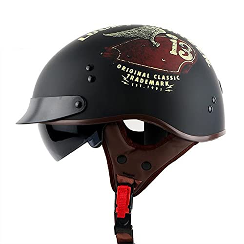 TALLKING Helmets Casco Moto Jet,Cascos Half,con Visera Solar ECE Homologado Casco Moto Casco de Motocicleta Vintage para Scooter Mofa Crash (Color : A, Size : (M/57-64CM)