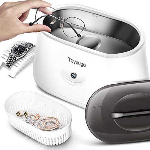 Ultrasonic Jewelry Cleaner,Toyuugo Professional Ultrasonic Cleaner,Portable Household Ultrasonic Cleaning Machine 360° all-round deep cleaning for Jewelry Tools, Parts, Instruments(25 Ounce Container)