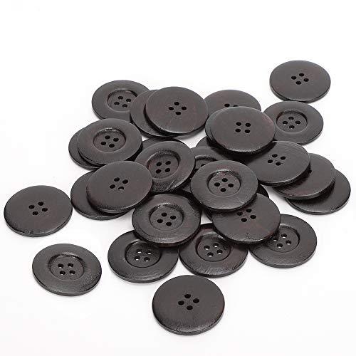 Botón redondo de madera, Delaman 30PCs Botones redondos de madera DIY Artesanía...