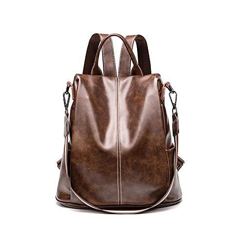 KrisAnna Damen Rucksäcke aus Leder Diebstahlsicherer Rucksackhandtaschen Braun EINWEG