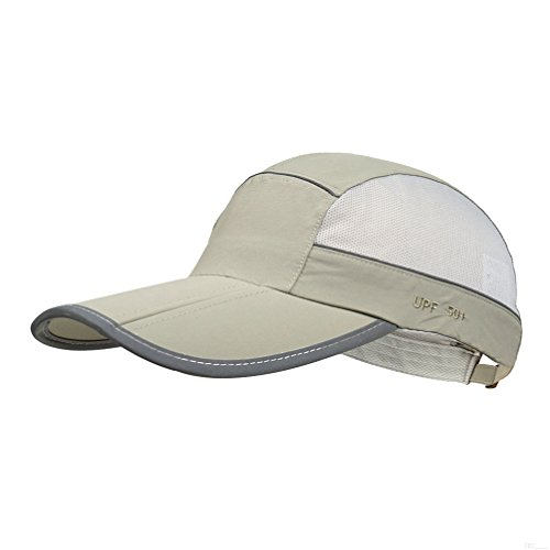 GADIEMKENSD Quick Dry Sports Hat Lightweight Breathable Soft Outdoor Run Cap Men Summer UPF 50+ Foldable with Reflective Tape Pocket Caps Unstructured Waterproof Fishing Camp Golf Dad Hat Light Gray