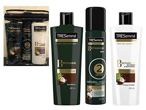 Tresemme Botanique Geschenkset Pflegen & Replenish Shampoo + Conditioner je 400 ml + Haarspray – keine Farbstoffe, keine Silikone – kein Alkohol – alles in transparentem Kulturbeutel geliefert