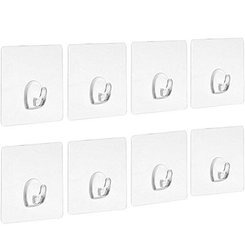 Blulu Klebehaken Belastbar Transparente Haken Ohne Nageln für Küche Badezimmer Tür Wand, 8 Packung