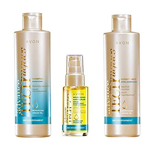 Avon Advance- Techniken 360 Nourishment marokkanischen Arganöl Set , Leave- in Treatment , Shampoo & Conditioner