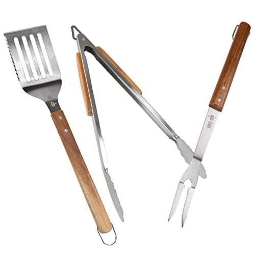BBQ-Aid 3 Piece Grill Set BBQ Accessories - Tongs, Spatula &...