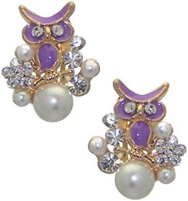 DUANA Gold tone Purple Owl Crystal Clip On Earrings