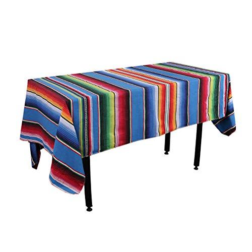 Zdada 1 paquete de manta multifuncional de serape de rayas mexicanas de 147 x 182 cm, colorida manta de viaje al aire libre hogar Serape mexicano