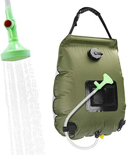 XIAOWANG Bolsa de Ducha Solar Camping, 5 galones / 20L calefacción Solar Ducha de Campamento con Manguera extraíble y Ducha Exterior Pommel a Acampar en la Playa de natación al Aire Libre