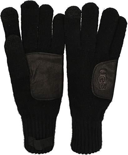 UGG - heren handschoenen KNIT GLOVE LEATHER PATCH zwart