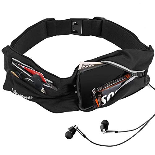 Running Belt for Phones, Adjustable Sport Waist Pack for Any Waist Size , Sweat Water Resistant Waist Pocket Belt, Sport Waist Pouch for Women, Men, Boy, Girl for Running, Hiking, Gym (3 pockets)