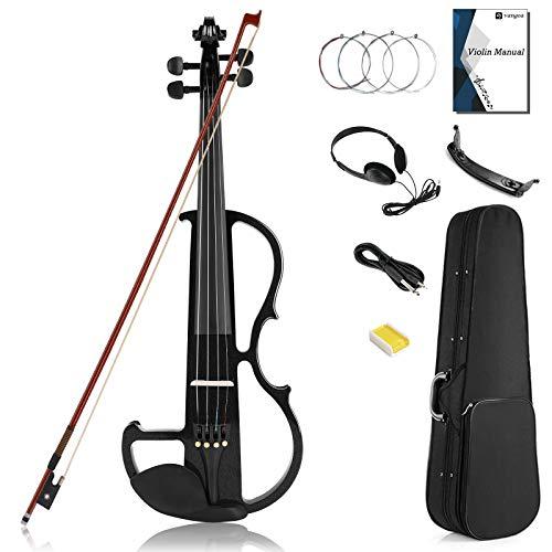 Vangoa Elettrica Silenzioso Violino 4/4 Full size Legno D'acero Violino Kit, Nero