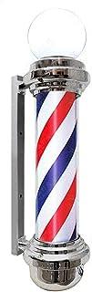 SAFGH Luz giratoria para peluquería al Aire Libre, peluquería y peluquería con lámparas Brillantes, Letrero de Poste de pe...