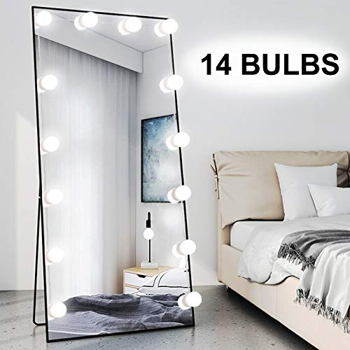 Chende 16.4ft Hollywood LED Mirror Lights Kit with 14 Dimmable Bulbs, Plug in Vanity Lights with 12V Cord for Full Length Mirror and Makeup Mirror, Stick on Light ( Mirror Not Included )